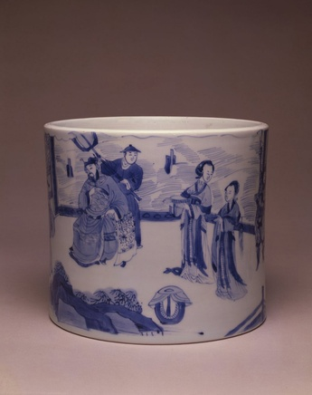A FINE BLUE AND WHITE BRUSH-HOLDER, Kangxi (1662 - 1722)