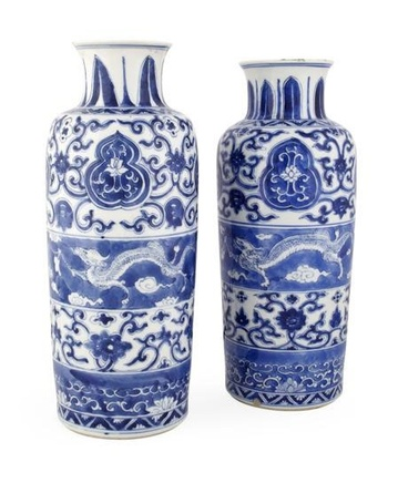 A PAIR OF FINE CHINESE BLUE AND WHITE VASES, Kangxi (1662-1722)