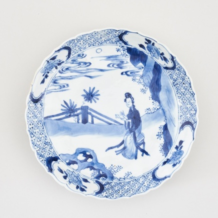 A CHINESE KANGXI BLUE AND WHITE SAUCER DISH, Kangxi (1662 - 1722)