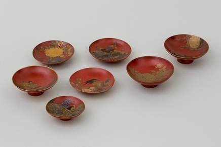 A COLLECTION OF SEVEN JAPANESE LACQUER SAKAZUKI BOWLS, Meiji 19th century