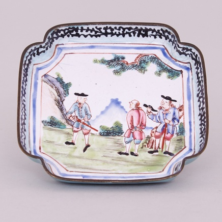 A CHINESE CANTON ENAMEL SQUARE TRAY, Qianlong (1736 – 1795)
