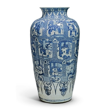 A LARGE CHINESE KANGXI BLUE AND WHITE 'SOLDIER' VASE PAINTED WITH THE TWENTY-FOUR PARAGONS OF FILIAL PIETY, KANGXI (1662-1722)