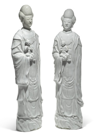 TWO IMPRESSIVE DEHUA FIGURES OF GUANYIN, Kangxi (1662-1722)