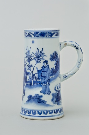 A CHINESE BLUE AND WHITE TRANSITIONAL TANKARD, Transitional, 1640's