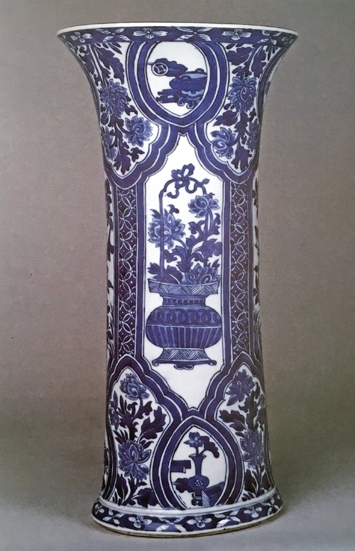 a blue and white gu form vase, chinese kangxi porcelain